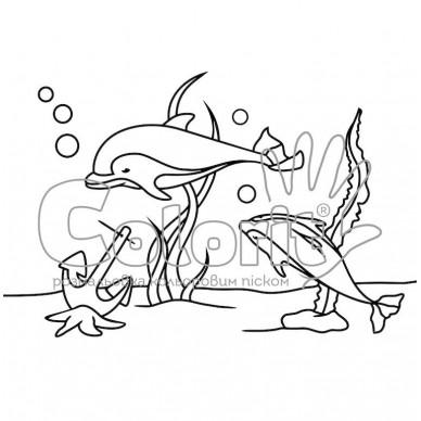 Трафарет для раскраски, Дельфины